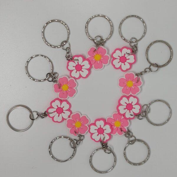 breloki różowiutkie kwiaty